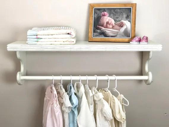 nursery hanging shelf hanging baby clothes rack shelf with etsy