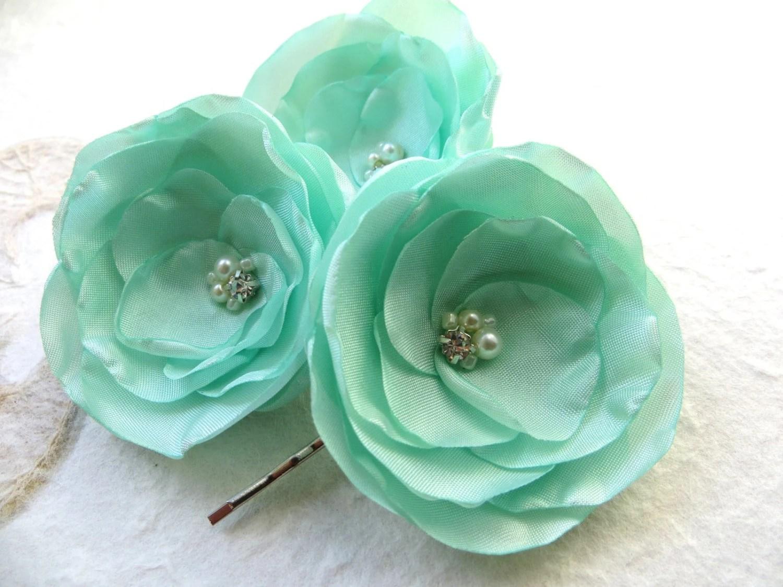 Mint Green Wedding Hair Flowers Set Of 3 Bridesmaid Bridal