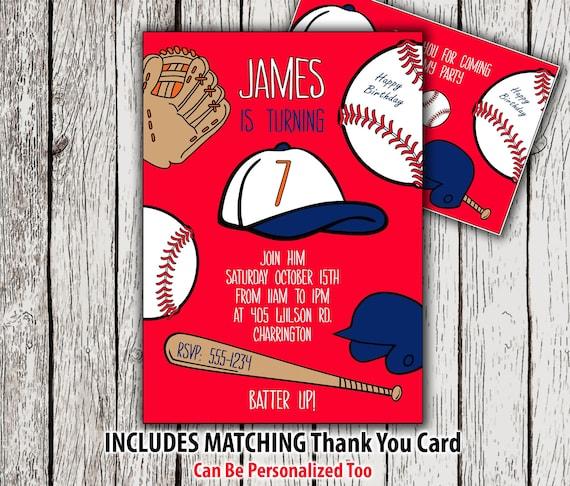 Baseball Invitation And Thank You Card Printable Baseball