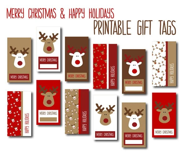 Digital Christmas Gift Tags Red White Brown Reindeers Diy Printable Merry Christmas And Happy Holiday Gift Labels Instant Download
