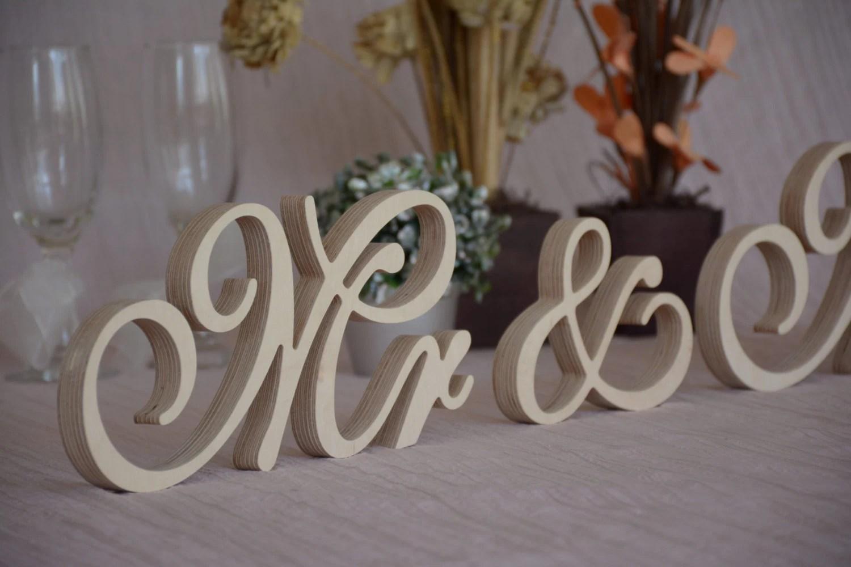 Script Font Mr& Mrs Set Wedding Table Decor. Mr And Mrs