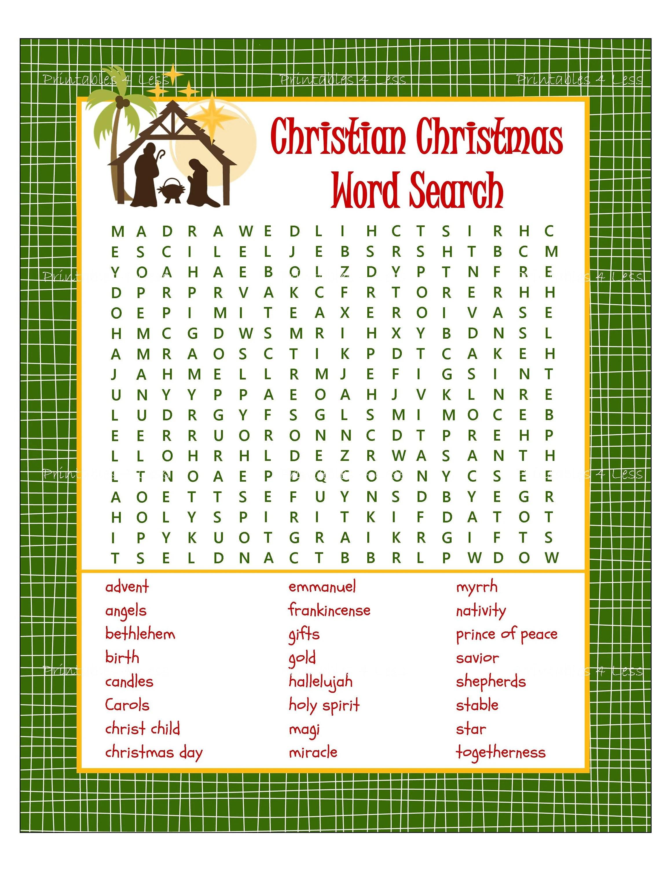 Christmas Word Search Printable Christmas Word Find
