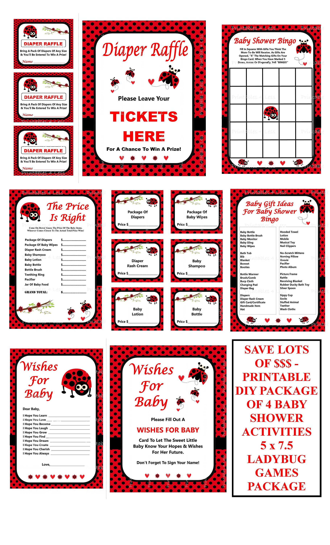 Ladybug Baby Shower Game Package Printable Ladybug Games