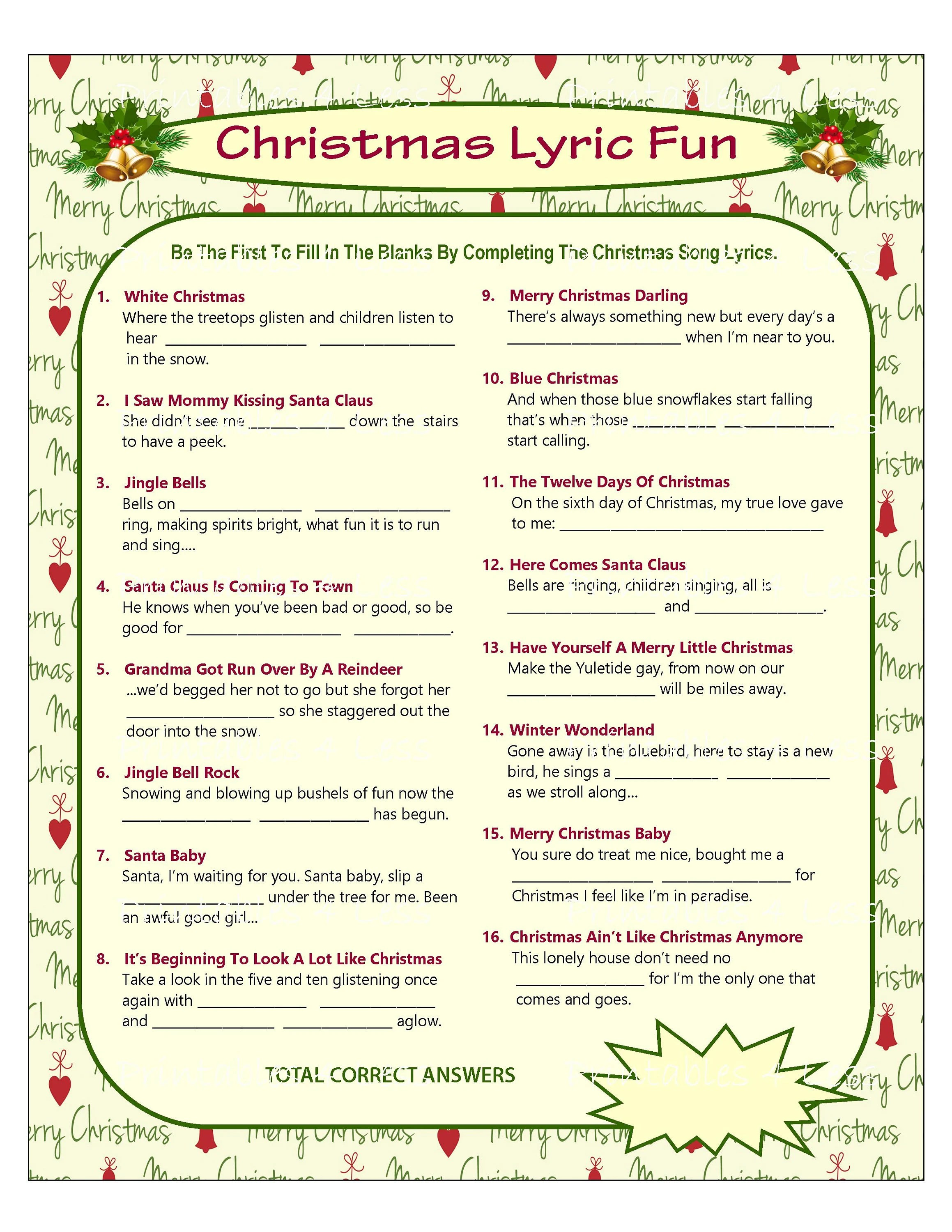 Christmas Song Game Christmas Music Game Christmas Carol