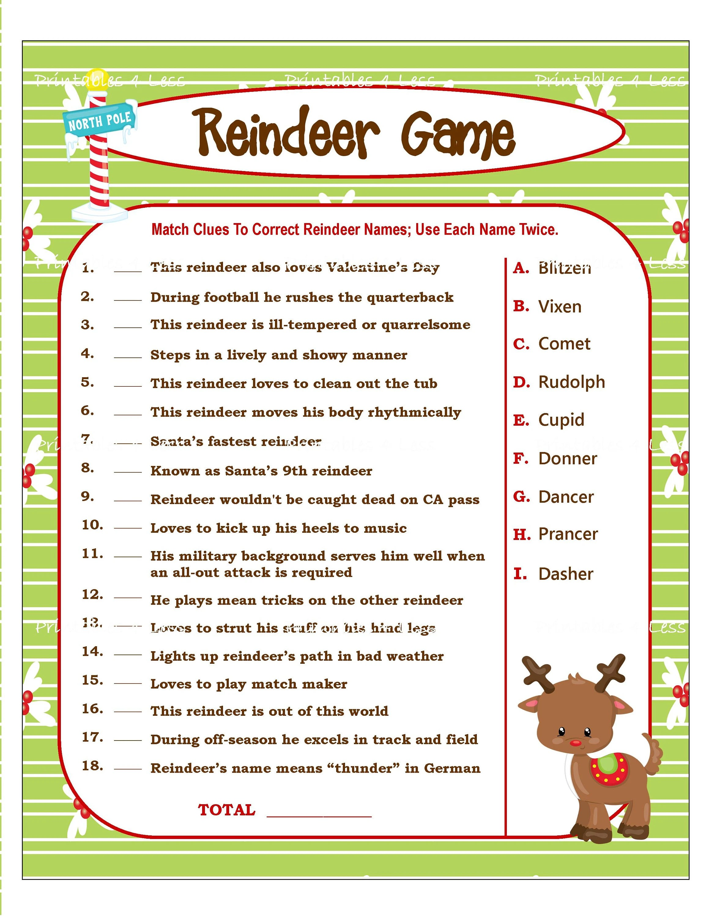 Reindeer Game Printable Christmas Game For Party Diy Holiday