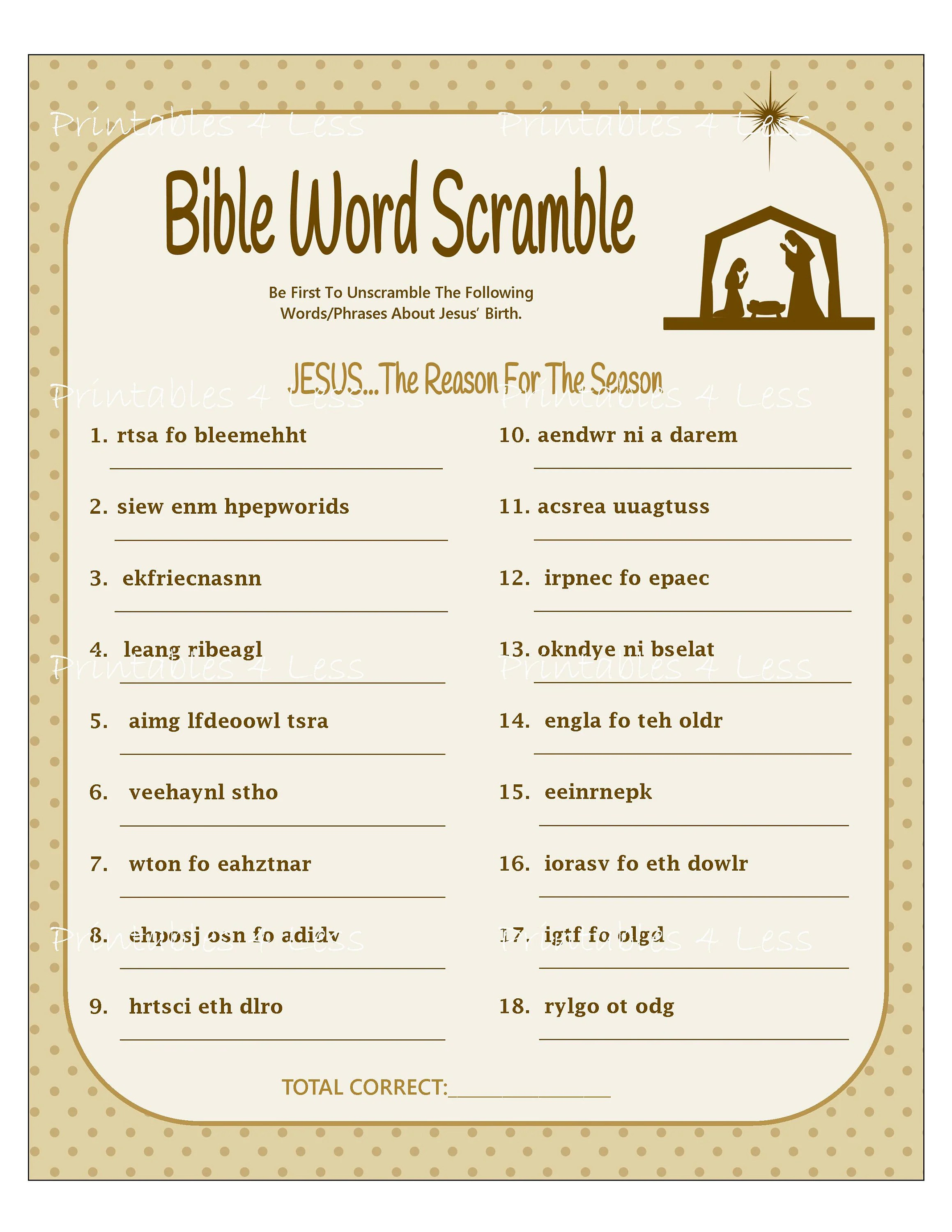 Bible Word Scramble Printable Christmas Word Scramble Diy