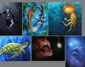 "3x4"", 4x4"" Magnet Seacreature Sea Creature Fish Jellyfish Anglerfish Turtle Whale Ocean Art Print Refrigerator Magnet Stocking Stuffers"