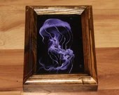 "4x6"" Original Mini Oil Painting - Purple Violet Jellyfish Tentacles Oceanlife Seacreature - Small Canvas Wall Art"