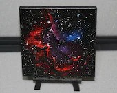 "4x4"" Original Mini Oil Painting - Wizard Nebula Galaxy Deep Space Outer Space Starry Spacescape - Small Canvas Wall Art"