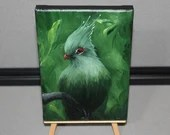 "RESERVED - 5x7"" Mini Original Oil Painting - Green Turaco Jungle Forest Bird Painting - Ornithology Miniature Bird Art"
