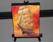 "4x6"" Original Mini Oil Painting - Orange Red Skies Tall Ship of Sail Saling Pirate Ship Ocean Seascape - Small Canvas Wall Art"