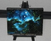"3x4"" Original Mini Oil Painting - Dragons of Ara Nebula Galaxy Deep Space Outer Space Starry Spacescape - Small Canvas Wall Art"