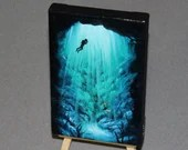 "4x6"" Original Mini Oil Painting - Underwater Cave Diver Diving Fish Ocean Seascape - Small Canvas Wall Art"