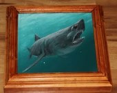 "6x6"" Original Mini Oil Painting - Blue Green Turquoise Great White Shark Oceanlife Seacreature - Small Canvas Wall Art"