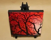 "Original Mini Painting - (4x4"") Red Tree Branches Forest, Oil Painting on Canvas with Easel, Apartment Decor, Small Gift"
