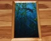 "8x16"" Original Oil Painting - Blue Gray Sharks Seaweed Scary Dark Art - Underwater Seacreature Oceanlife Wall Art"