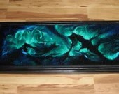 """12x36"""" Original Oil Painting - Seahorse Sea Horse Nebula Galaxy Outer Space Deep Space Astronomy Stars Starry Wall Art"""