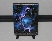 "3x4"" Original Mini Oil Painting - Elephant's Trunk Nebula Galaxy Deep Space Outer Space Starry Spacescape - Small Canvas Wall Art"