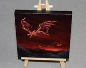 "Original Mini Painting - (4x4"") Red Orange Sunset Medieval Flying Dragon, Oil Painting on Canvas with Easel, Apartment Decor, Small Gift"