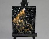"Original Mini Painting - (3x4"") Deep Space Dark Yellow Peach Orange Nebula Galaxy Stars Starry - Oil Painting on Easel - Dollhouse Painting"