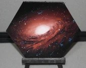 "5-6"" Original Mini Oil Painting Hexagon Flat Panel - NGC 3169 Galaxy Nebula Deep Space Outer Space Starry Spacescape - Small Canvas Wall Art"