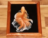 "8x10"" Original Oil Painting - Orange White Beta Fish - Underwater Seacreature Oceanlife Wall Art"