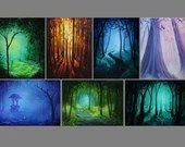"3x4"" Magnet Forest Enchanted Trees Dark Woods Fantasy Art Print Refrigerator Thin Flat Square Magnet"