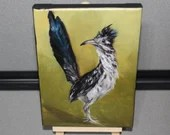 "5x7"" Mini Original Oil Painting - Roadrunner Road Runner Bird Painting - Ornithology Small Miniature Bird Art"