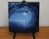 "6x6"" Mini Painting, Original Oil Painting - Seascape Ocean Wave Canvas Wall Art"