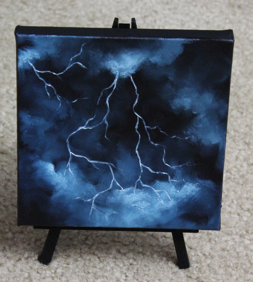 "6x6"" Mini Painting, Original Oil Painting - Landscape Lightning Canvas Wall Art"