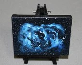 "Original Mini Painting - (3x4"") Deep Space Dark Blue Black Nebula Galaxy Stars Starry Sky - Oil Painting on Easel - Dollhouse Painting"