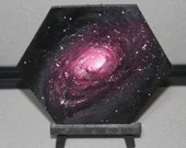 "5-6"" Original Mini Oil Painting Hexagon Flat Panel - Black Eye Galaxy Nebula Deep Outer Space Starry Spacescape - Small Canvas Wall Art"