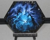 "5-6"" Original Mini Oil Painting Hexagon Flat Panel - Trifid Nebula Galaxy Deep Space Outer Space Starry Spacescape - Small Canvas Wall Art"