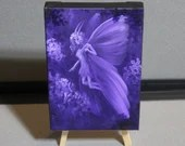 "4x6"" Original Mini Oil Painting - Purple Violet Fairy Fairies Fae Forest - Flowers Landscape Wall Art Mini Painting"