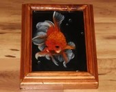 "5x7"" Original Mini Oil Painting - Orange Goldfish Oceanlife Seacreature - Small Canvas Wall Art"