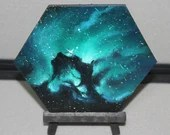 "5-6"" Original Mini Oil Painting Hexagon Flat Panel - Seahorse Nebula Galaxy Deep Space Outer Space Starry Spacescape - Small Canvas Wall Art"