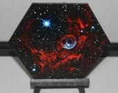 "5-6"" Original Mini Oil Painting Hexagon Flat Panel - Bubble Nebula Galaxy Deep Space Outer Space Starry Spacescape - Small Canvas Wall Art"