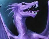 "12x16"" Original Oil Painting - Purple Dragon - Fantasy Creature Art -  Dark Spooky Wall Art"
