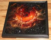 "20x20"" Original Oil Painting - Tadpole Nebula Galaxy Outer Space Deep Space Astronomy Stars Starry Wall Art"