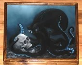 "16x20"" Original Oil Painting - Black Blue Octopus Skull Dark Art - Ocean Seacreature Cthulu Fantasy Wall Art"