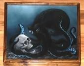 "16x20"" Original Oil Painting - Black Blue Octopus Skull Dark Art - Ocean Seacreature Cthulu Fantasy Wall Art"