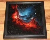 "10x10"" Original Oil Painting - Red Blue Wizard Nebula Galaxy Outer Space Deep Space Astronomy Stars Starry Wall Art"