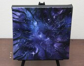 "6x6"" Mini Painting, Original Oil Painting - Landscape Forest Night Sky Wall Art"
