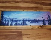 "10x30"" Original Oil Painting - Foggy Forest Landscape Mountain Overlook Birds Overhead Pink Purple Blue Cloudy - Landscape Wall Art"