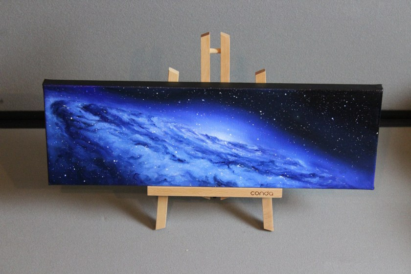 """6x18"""" Original Oil Painting - Blue Galaxy Nebula Stars Starry Painting - Outer Space Astronomy Stars Starry Wall Art"""