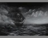 "Art PRINT - Pirate Ship Black and White Ocean Cloudy Sea Sailing Ship of Sail Seascape Wall Art - Choose Size 4x6"" 5x7"" 8x10"" 12x16"" PRINTS"