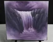 "6x6"" Mini Painting, Original Oil Painting - Landscape Waterfall Canvas Wall Art"