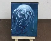 "Original Mini Painting - (3x4"") Jellyfish Oil Painting on Easel - Dollhouse Painting"