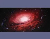 "15x30"" Original Oil Painting - Huge Dark Rose Spiral Galaxy Painting - Large Outer Space Deep Space Astronomy Canvas Wall Art"