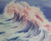 "RESERVED - COMMISSION - 20x20"" Original Oil Painting - Giant Pastel Wave Painting - Ocean Seascape Wall Art"